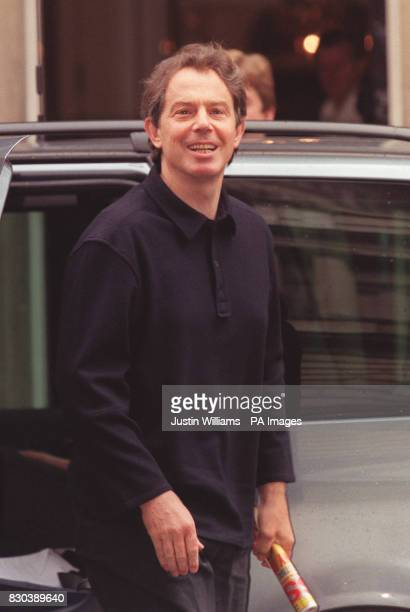 Prime Minister Tony Blair at Downing Street after attending a service at Westminster Cathedral in London The Blairs are celebrating the arrival of...