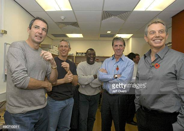 Prime Minister Tony Blair backstage with BBC Sport presenters Alan Hansen Gary Lineker Garth Crooks and Mark Lawrenson after appearing on Football...