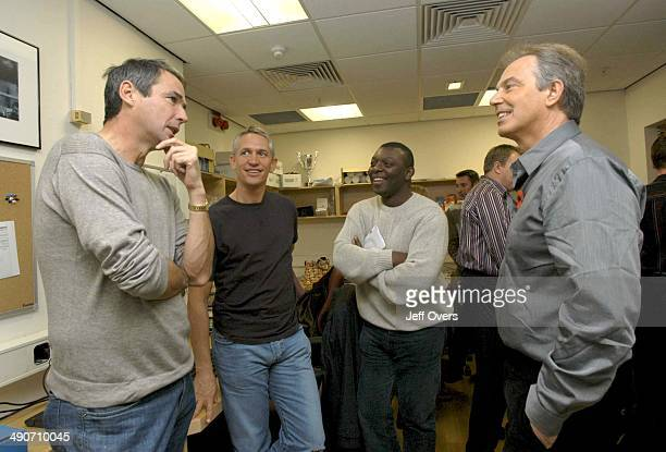 Prime Minister Tony Blair backstage with BBC Sport presenters Alan Hansen Gary Lineker and Garth Crooks after appearing on Football Focus