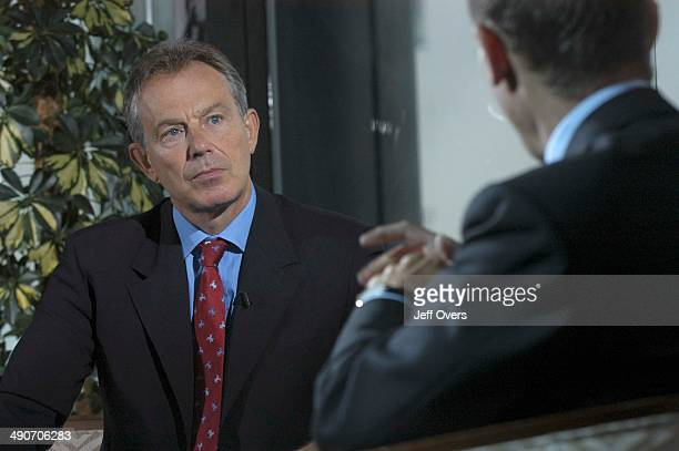 Prime Minister Tony Blair being interviewed by Andrew Marr on the BBC current affairs programme Sunday AM on the eve of the Labour Party Conference...