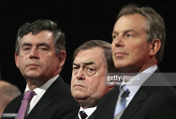 Prime Minister Tony Blair Chancellor Gordon Brown and Deputy Prime Minister John Prescott listen to the closing music at the end of party conference...