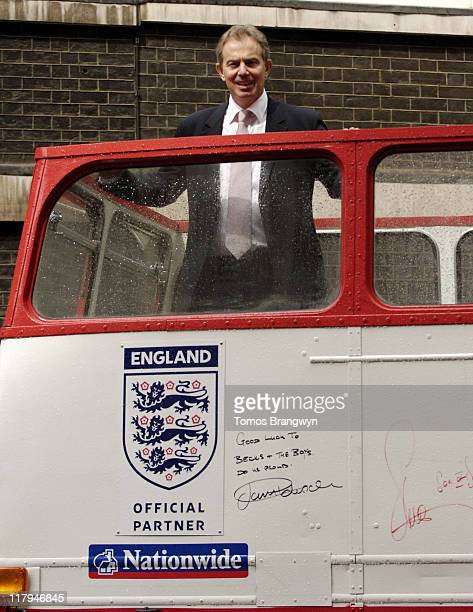 Prime Minister Tony Blair during FIFA 2006 World Cup Tony Blair Signs England Fans Tour Bus at 10 Downing Street in London Great Britain