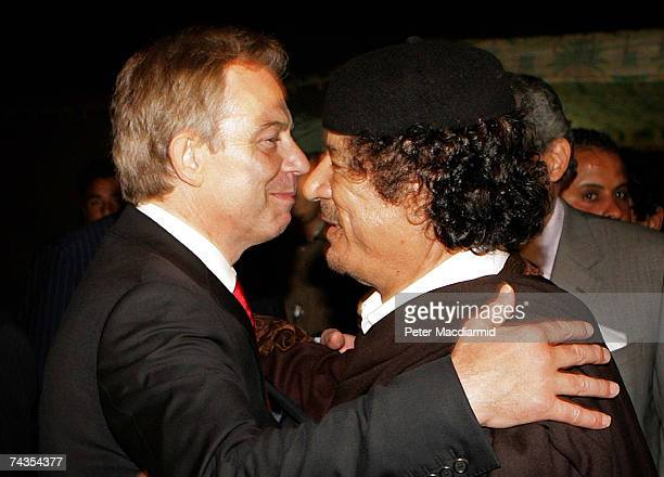 Prime Minister Tony Blair embraces Colonel Moammar Gadhafi after a meeting on May 29 2007 in Sirte Libya Blair is on a five day visit to meet with...