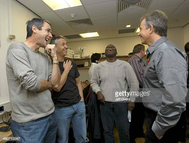Prime Minister Tony Blair enjoys a joke backstage with BBC Sport presenters Alan Hansen Gary Lineker and Garth Crooks after appearing on Football...