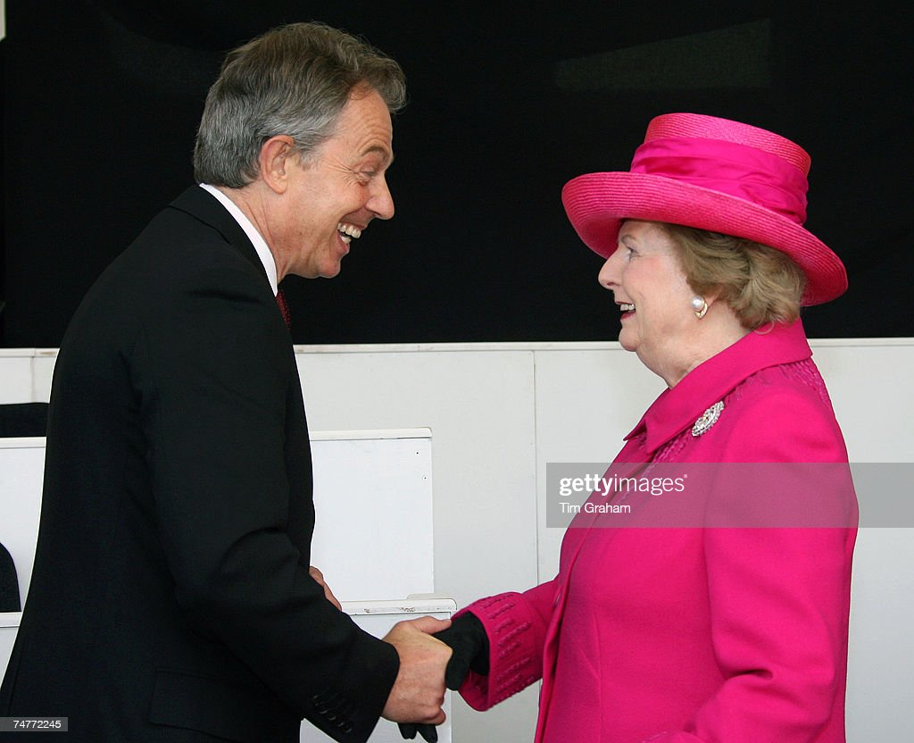 Prime Minister Tony Blair greets Baroness Margaret Thatcher at the Falklands Veterans Parade held to commemorate 25 years since the end of the Falklands War on June 17, 2007 in London, England.