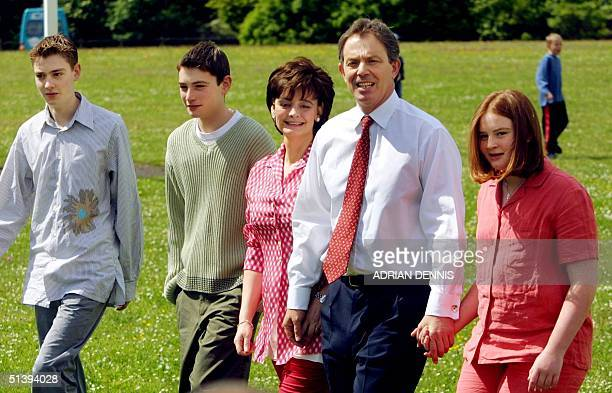 Prime Minister Tony Blair his wife Cherie and children Euan Nicholas and Kathryn walk to the polling station to vote in the General Election in...