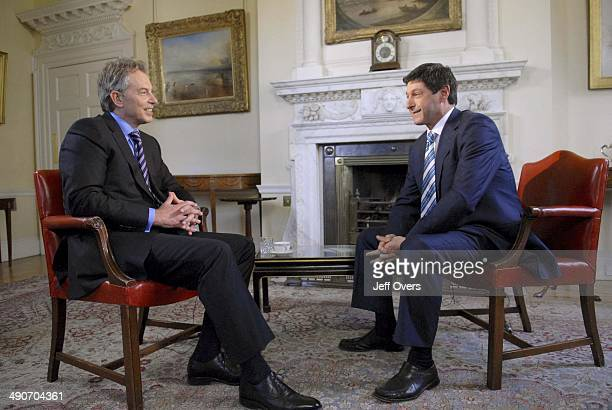 Prime Minister Tony Blair is interviewed inside 10 Downing Street by Jon Sopel for BBC 1's Politics Show Picture date Sunday April 15 2007 Tony Blair...