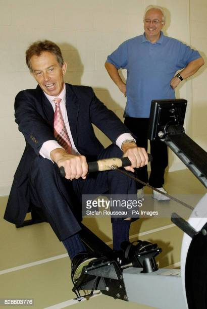 Prime Minister Tony Blair is put through his paces on a rowing machine during a visit to the cardiac unit at the Royal Bournemouth Hospital