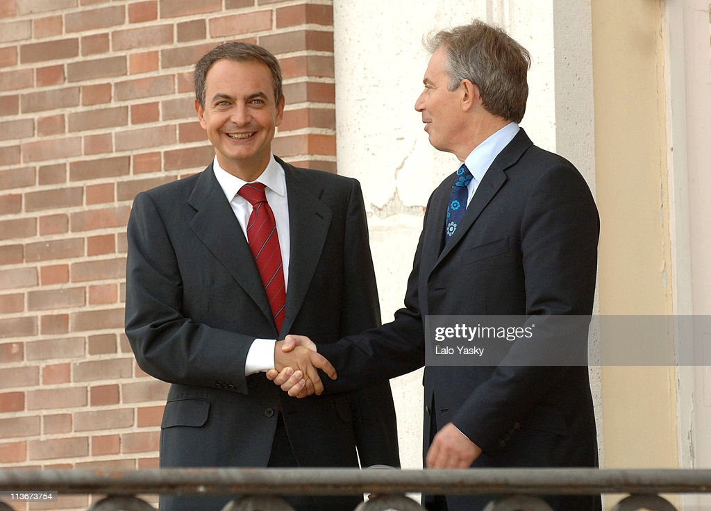 Prime Minister Tony Blair is Received by Spanish President Jose Luis Rodriguez