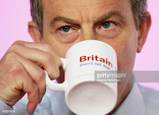 Prime Minister Tony Blair is seen at a morning press conference on Health April 16 2005 in London England The Prime Minister spoke about new local...