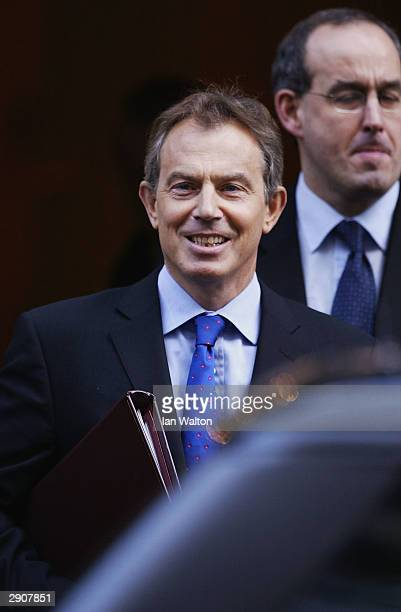 Prime Minister Tony Blair leaves Downing Street on his way to Prime Minister's Questions January 28 2004 in London Blair is riding out a turbulent...