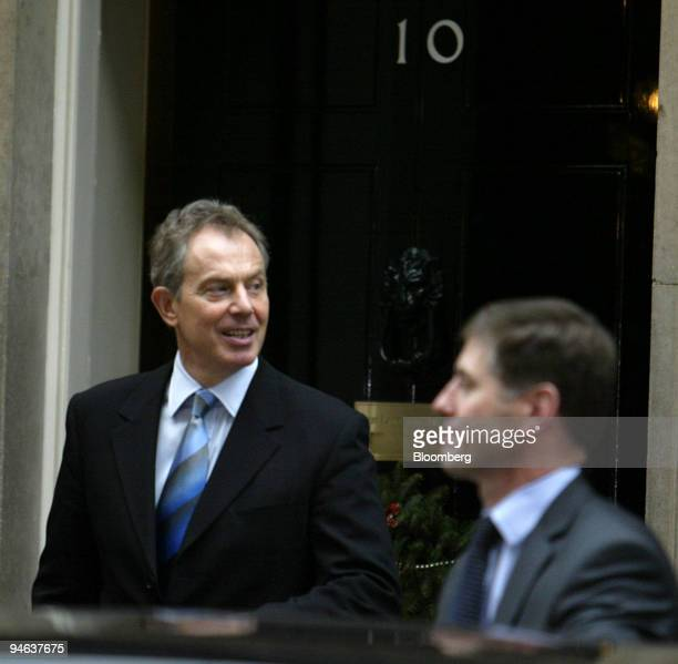 K Prime Minister Tony Blair leaves Number 10 Downing Street in London UK on Thursday afternoon December 14 2006 UK police questioned Blair in...