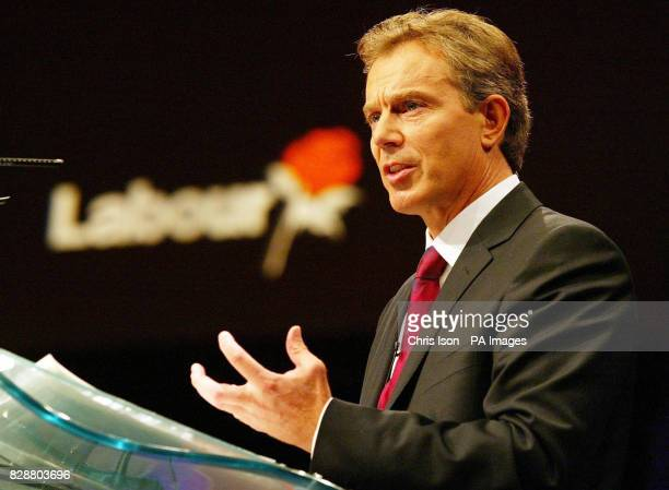 Prime Minister Tony Blair makes his keynote speech to delegates at the Bournemouth International Centre where the Labour Party conference is in its...