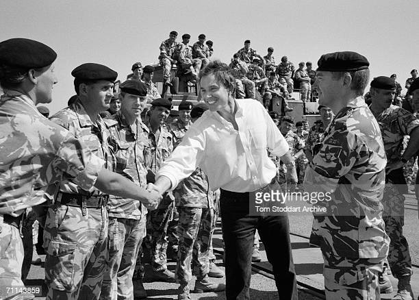 Prime Minister Tony Blair meets British troops stationed in and around Basra, Southern Iraq, during a morale boosting visit.