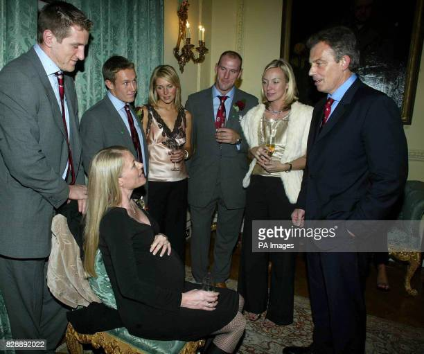Prime Minister Tony Blair meets Will Greenwood and his wife Caroline Jonny Wilkinson and girlfriend Diana Stewart and Laurence Dallaglio and partner...