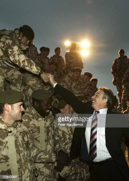Prime Minister Tony Blair meets with British soldiers on duty in Basra on December 17 2006 in Iraq Blair has visited the British contingent in Iraq...