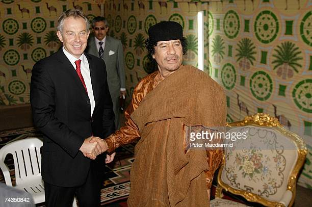 Prime Minister Tony Blair meets with Colonel Moammar Gadhafi on May 29 2007 in Sirte Libya Mr Blair is on a five day visit to meet with African...