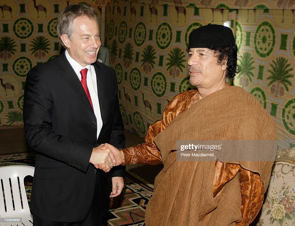 Prime Minister Tony Blair (L) meets with Colonel Muammar Abu Minyar al-Gaddafi on May 29, 2007 in Sirte, Libya. Mr Blair is on a five day visit to meet with African leaders as he prepares to stand down as Britain's Prime Minister on June 27, 2007.