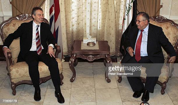 Prime Minister Tony Blair meets with Iraqi President Jalal Talabani at the Presidential Residence on December 17 2006 in Baghdad During Blair's visit...