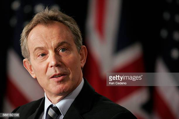 Prime Minister Tony Blair of Great Britain conducts a joint press conference with President George W Bush at the White House in Washington DC