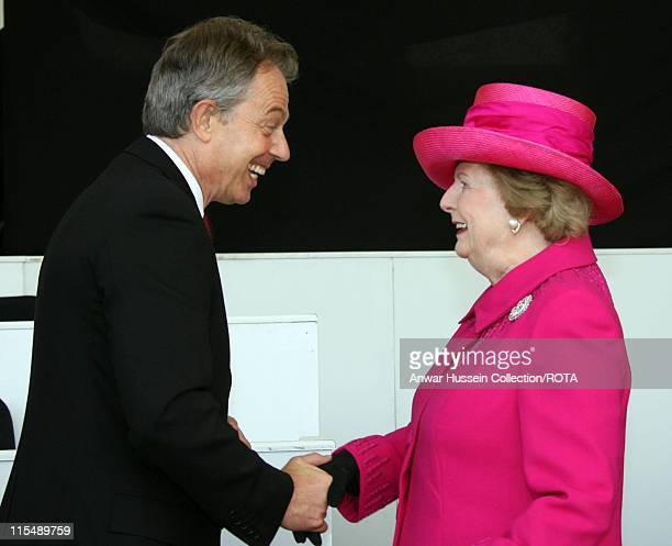 Prime Minister Tony Blair shakes hands with Baroness Margaret Thatcher during a Falklands War commemoration at Horseguards Parade London on17 June...