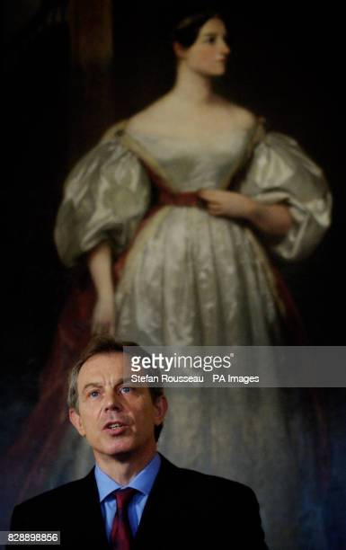 Prime Minister Tony Blair standing in front of Augusta Ada Byron Countess of Lovelace by Margaret Carpenter during a press conference at Downing...