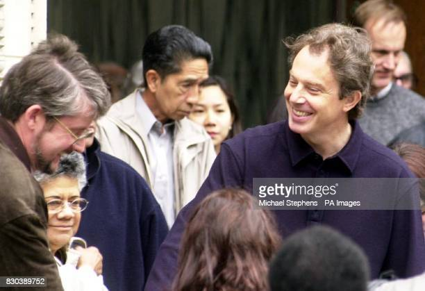 Prime Minister Tony Blair talks to members of the public outside Westminster Cathedral in London The Blairs are celebrating the arrival of baby Leo...