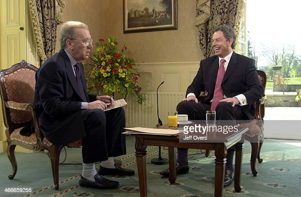 Prime Minister Tony Blair talks with broadcaster Sir David Frost Sunday May 13 at Spennymoor County Durham where he was appearing on the television...