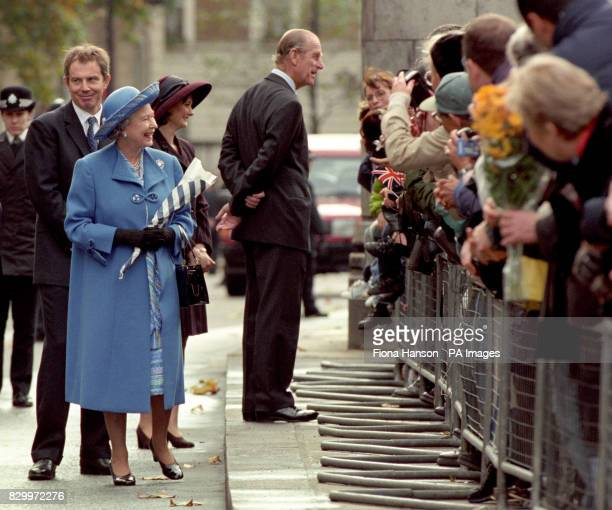 Prime Minister Tony Blair the Queen and the Duke of Edinburgh meet wellwishers during a walkabout this morning following a thanksgiving service at...