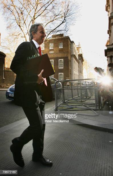 Prime Minister Tony Blair walks to his car in Downing Street on March 14 2007 in London The government is facing a rebellion by it's own MPs later in...