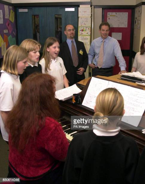 Prime Minister Tony Blair watches a drama workshop at Royal Manor School in Portland Dorset in the run up to the June 7 General Election During his...