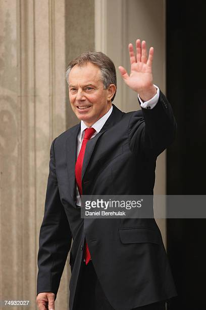Prime Minister Tony Blair waves goodbye before leaving his Downing St residence for the last time as Prime Minister on June 27 2007 in London Mr...