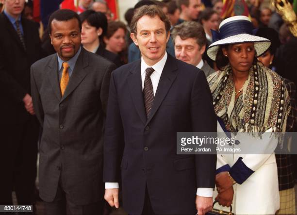 Prime Minister Tony Blair with King Mswati III of Swaziland and his wife arriving at Westminster Abbey to attend a special ceremony to mark the 50th...