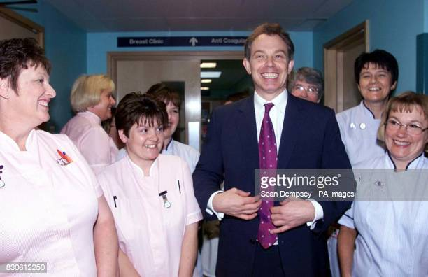 Prime Minister Tony Blair with nurses during a visit to the Pilgrim Hospital in Boston Lincolnshire Blair toured several departments at the hospital...
