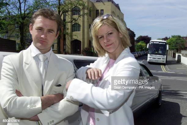 Prime Minister Tony Blair's sisterinlaw Lauren Booth with Channel 5's Jonathan Gilbert in a publicity stunt outside the Mayday Hospital in Croydon...
