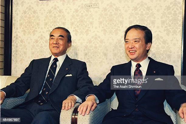 Prime Minister Toshiki Kaifu and former Prime Minister Yasuhiro Nakasone are seen during their meeting at Kaifu's official residence on November 9...