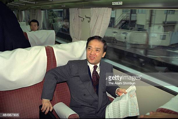 Prime Minister Toshiki Kaifu is on the way to Hamamatsu for support speech of the upper house election on February 5 1990 in Tokyo Japan Toshiki...