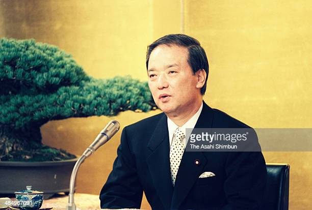 Prime Minister Toshiki Kaifu speaks during a press conference after reshuffling his cabinet at his official residence on December 30 1990 in Tokyo...