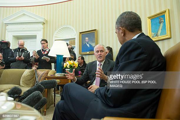 Prime Minister Turnbull of Australia and President Barack Obama speak to the media prior to a meeting in the Oval Office at the White House on...