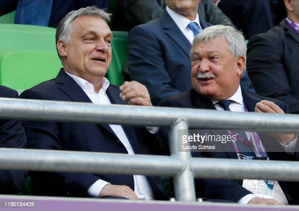 Prime minister Viktor Orban of Hungary reacts next to president Sandor Csanyi of Hungarian Football Federation during the UEFA Women's Champions...