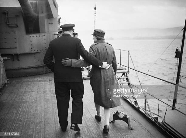Prime Minister Winston Churchill Aboard HMS Duke Of York For Visit To America December 1941 Mr Churchill and his daughter Mary walking arm in arm...