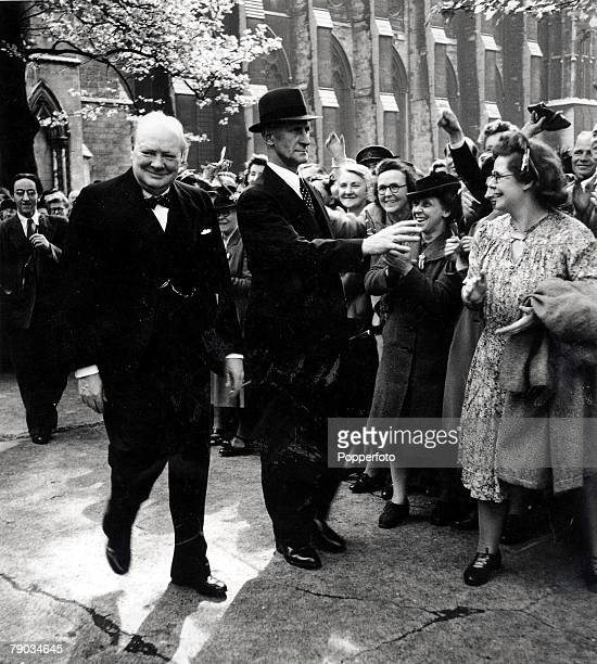 8th May1945 VE Day celebrations in London Prime Minister Winston Churchill acknowledging the cheers of the crowd after leaving the Thanksgiving...