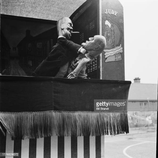 Prime Minister Winston Churchill and Italian dictator Benito Mussolini in puppeteer Tom Haffenden's topical wartime Punch and Judy puppet show in...