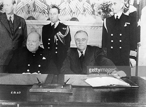 Prime Minister Winston Churchill and President Franklin D Roosevelt at Conference Table White House Washington DC Dec 22 1941