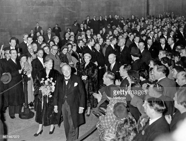 Prime Minister Winston Churchill receives a birthday presentation in Westminster Hall on his 80th birthday by Clement Attlee, leader of the...
