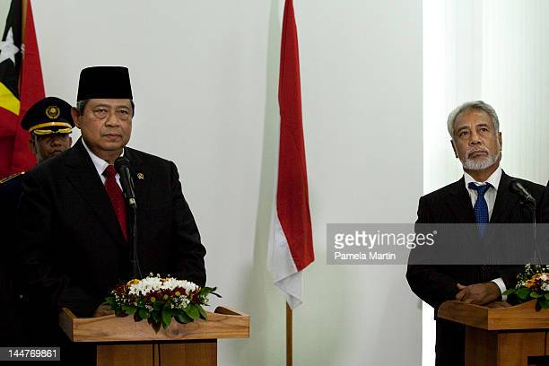Prime Minister Xanana Gusmao speaks at a Press Conference with the President of Indonesia Susilo Bambang Yudhoyono at the Government Palace as East...