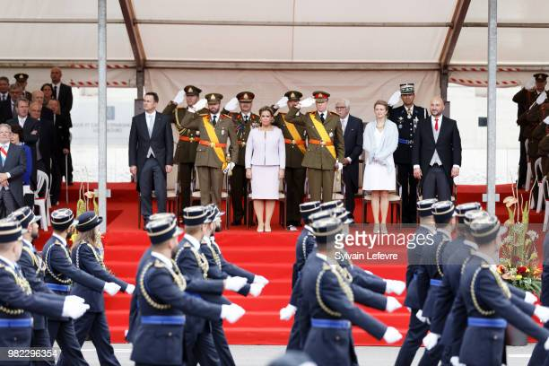 Prime Minister Xavier Bettel, Prince Guillaume of Luxembourg, Grand Duchess Maria Teresa of Luxembourg, Grand Duke Henri of Luxembourg, Princess...