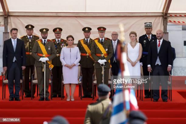 Prime Minister Xavier Bettel Prince Guillaume of Luxembourg Grand Duchess Maria Teresa of Luxembourg Grand Duke Henri of Luxembourg Princess...