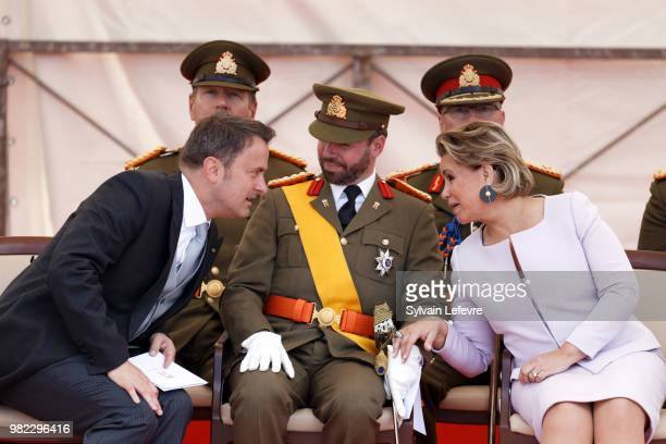Prime Minister Xavier Bettel Prince Guillaume of Luxembourg Grand Duchess Maria Teresa of Luxembourg attend National Day parade on June 23 2018 in...