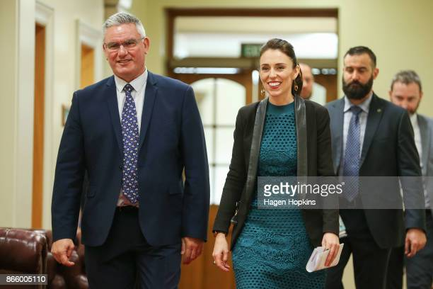 Prime Ministerdesignate Jacinda Ardern and Labour deputy leader Kelvin Davis arrive at a ministerial portfolio announcement at Parliament on October...